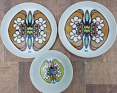 Peter Max plates Iroquois lot of 3 vintage 60's