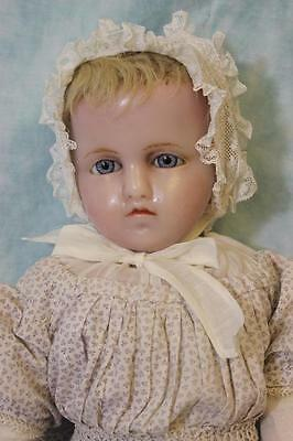"""25"""" Poured Wax doll Stamped Hamley's, Blond inserted Hair Antique clothes 1865"""
