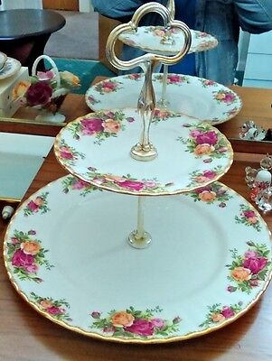 Royal Albert Old Country Roses 2 Tier Cake Stand Mint Condition