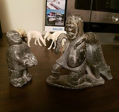 2 Inuit soapstone carvings of Eskimo man and hunted Polar Bear, and Boy vintage