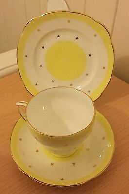 Vintage Duchess Bone China Yellow, White & Gold Trio - Cup, Saucer & Side Plate