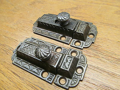 Old Pair Cupboard Latches Latch  Cabinet Lock Ornate Window Sash Lock