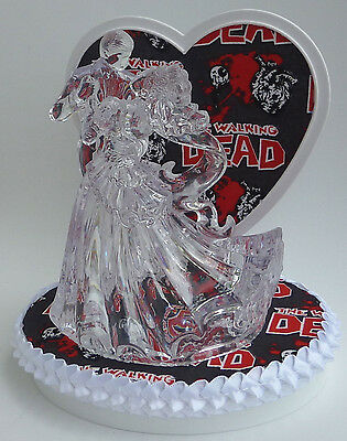 Wedding Cake Topper the Walking Dead Themed Clear Couple Dancing Zombies Dance
