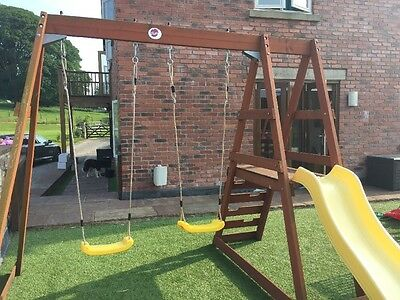 Plum® Tamarin Wooden Swing Set With Yellow slide And Swings