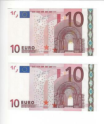 European Union 10 Euro Two Different Codes     Sig #2  Nice  Unc