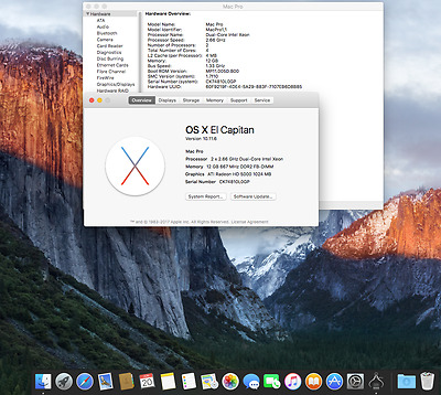 Apple Mac Pro 1.1 or 2.1 ...El Capitan OS X Preloaded on a Fast 250gb Sata Drive