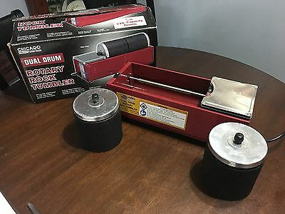 Chicago Electric - Dual Drum Rotary Rock Tumbler w/ Two 3 lb Capacity Drums