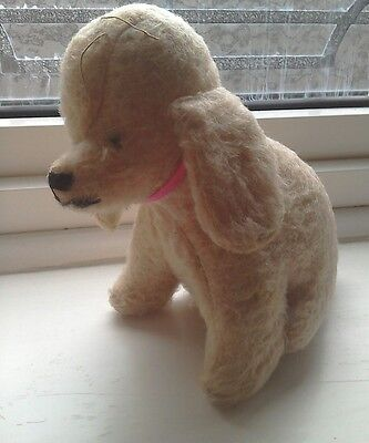 Vintage 1950S  Hard Straw Stuffed Dog Faded Pink  Mohair