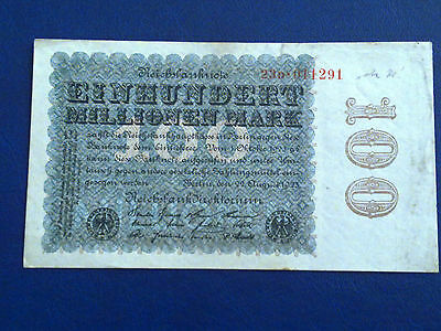 Germany - 100 Million Mark  Banknote 1923-Inflation - Very Fine