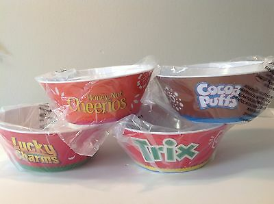 General Mills Cereal Bowls NEW Cheerios, Trix, Cocoa Puffs, Lucky Charms
