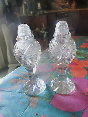 Vtg Brilliant Crystal Cut Glass Floral Salt And Pepper Shakers W/glass Tops