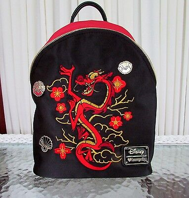 Loungefly Disney Mulan Mushu Satin Backpack Black Red Embroidered NWT