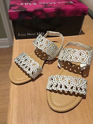 New: eddie marc kids sandals girls white with sparkly rhinestones size 7