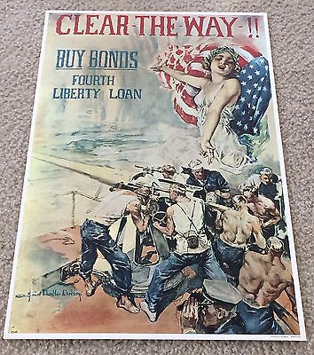 """WWI Buy Bonds """"Clear The Way!!""""  1964 Time Reproduction Print - MINT!!"""