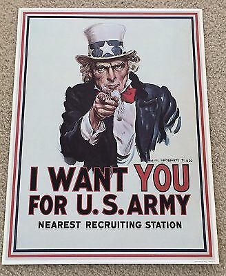 """WW I  """"I Want You For The US Army""""  Uncle Sam 1964 Time Reproduction Print"""