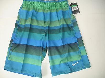 NWT Boy L 14/16 Nike Swim Trunks - Blue Green Black White Pattern