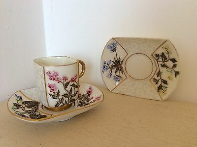 c1886 Antique Victorian Royal Worcester Aesthetic Porcelain Cup & Two Saucers