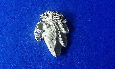 Vintage Solid Sterling Silver Art Deco Style Marcasite Swirl Pin Brooch