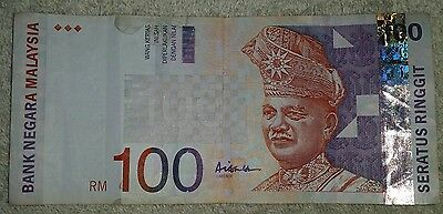 Malaysia 100 RM Ringgit Bank Note Bill Money Currency Exchange Dollars Banknote