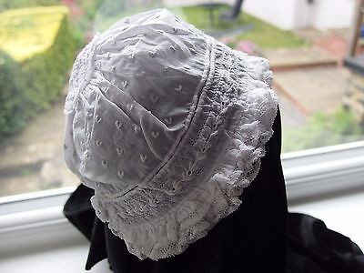 antique Victorian Ayrshire lace embroidered baby bonnet Christening