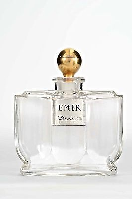 French Art Deco Rectangular Clear Glass Perfume Bottle (EMIR by DANA)