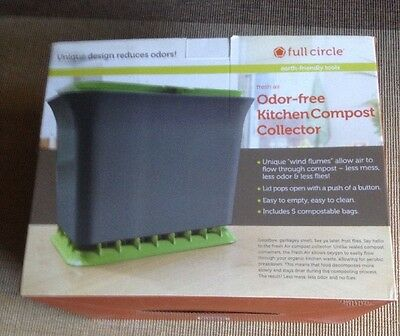 Full Circle Fresh Air odor-free kitchen compost collector, Green Slate