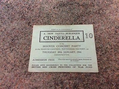 Cinderella Ticket 1944 Production In Aid Of POW Fund