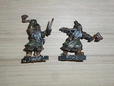 Warhammer Lord of The Rings Hobbit - Dwarf Iron Guard x 2 - Metal Painted