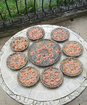 vintage French majolica 8 seafood or escargot plates & serving platter Vallauris