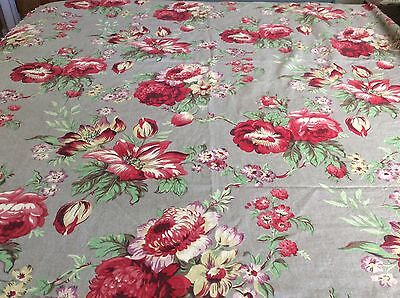 Vintage Floral Linen /Cotton Decorator Fabric 2 1/2 Yards x 58 in.