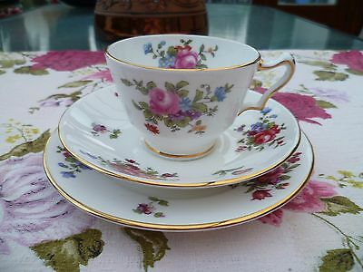 Lovely Vintage Crown Staffordshire China Trio Tea Cup Saucer Plate Mixed Flower