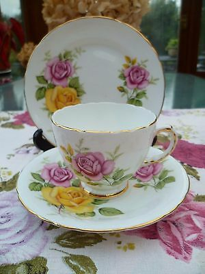 Pretty Vintage Delphine English China Trio Tea Cup Saucer Pink Yellow Roses
