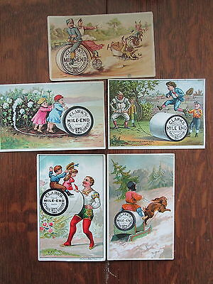 5 Vintage Victorian Trade Cards Clarks Mile End spool Cotton