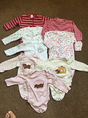 Bundle Of Baby Girl Babygrows & Vests 3-6 Months NEXT, M&S, F&F