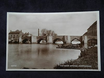 Vintage Valentine's Real Photograph Postcard of the Ouse Bridge, Huntingdon
