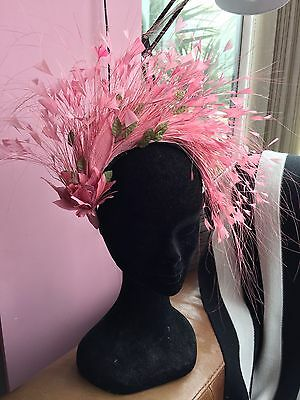 Feather Crown Fascinator/headpiece In Pink