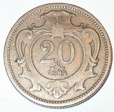 One Old Austrian Coin. 20 Heller. 1894. Austria. Excellent Condition