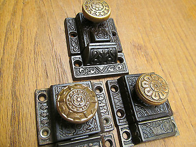 "3 Assorted Old Latches...brass? Bronze ? Knobs Nice Ornate Eastlake ??"" Windsor"""