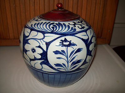 Antique Chinese blue and white porcelain Ginger Jar  19th Century 8""
