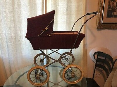 Vintage Antique Baby Carriage Stroller Buggy Baby Doll Childs Burgundy
