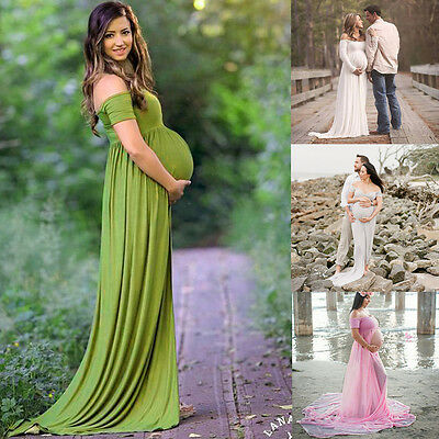 Women Dress Maternity Photography Props Off Shoulders Pregnant Gown Dresses