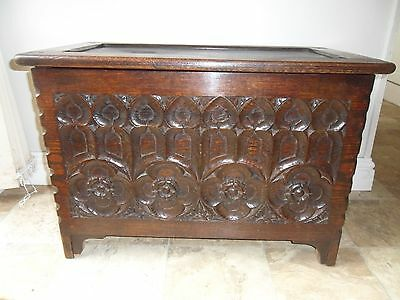 Antique Small Carved Oak Gothic Coffer