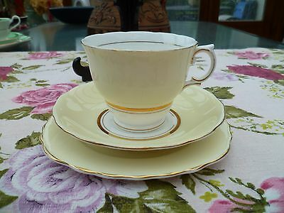 Vintage Colclough English China Trio Tea Cup Saucer Pastel Yellow Harlequin