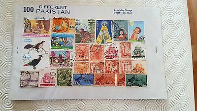 100 different Pakistan stamps Used