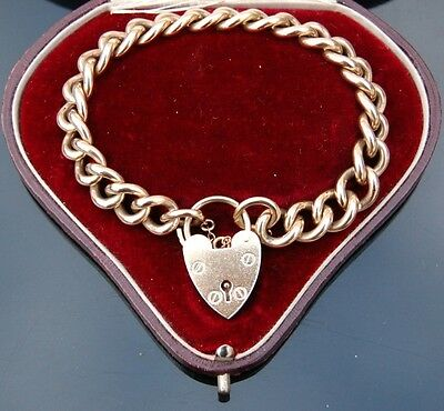 SOLID 9ct GOLD CURB LINK BRACELET / CHARM BRACELET WITH PADLOCK AND SAFETY CHAIN