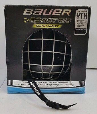 New Bauer Re-akt 100 Youth Hockey Helmet, Black, Free Shipping