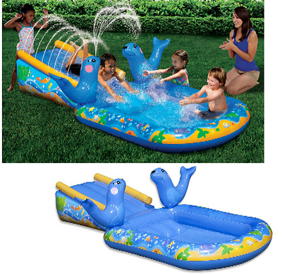 Inflatable Kids Swimming Pool Play Center Water Slide Sprayer Summer Fun Toy NEW
