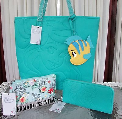 Disney Loungefly The Little Mermaid Ariel Tote Wallet Cosmetic Bag Flounder NWT!
