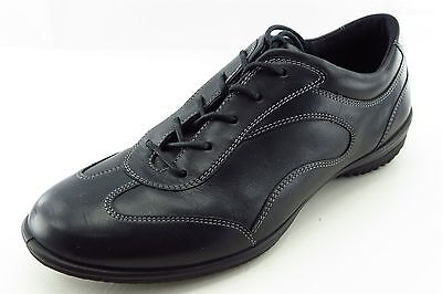 ECCO Fashion Sneakers Black Leather Women Shoes Size 39 Medium