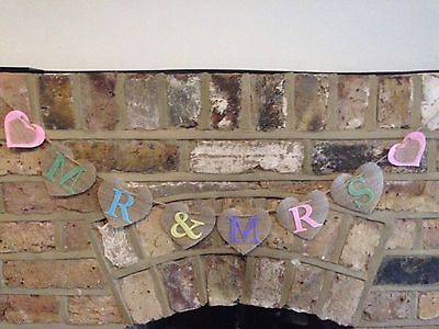 Pastels Wedding Mr And Mrs Hessian Shabby Rustic Heart Bunting Banner